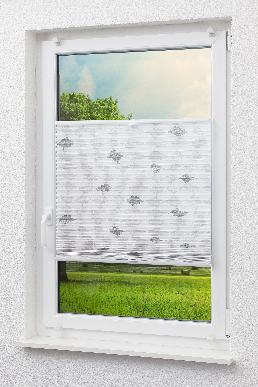 cleverfix dekor plissee rautenmotiv in grau auf. Black Bedroom Furniture Sets. Home Design Ideas