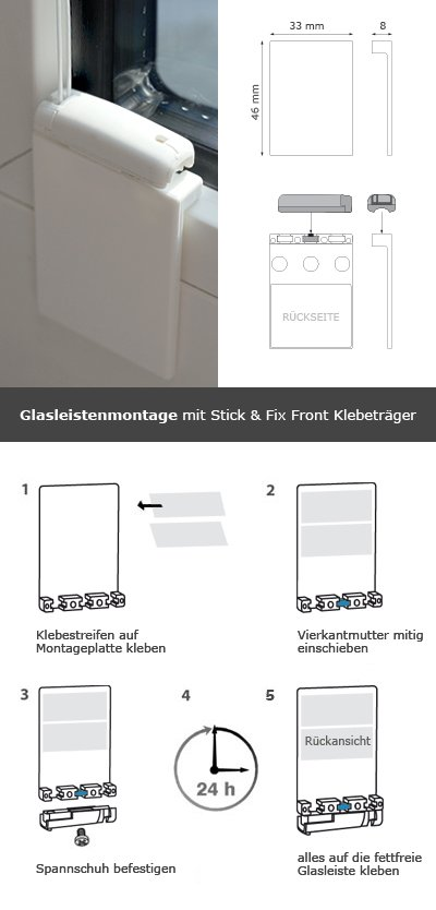 klebeplatte stick fix front plissee zubeh r system cosiflor. Black Bedroom Furniture Sets. Home Design Ideas